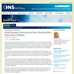 Research on Near Death Experiences