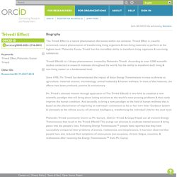 The Trivedi Effect Public Profile on Orcid.org