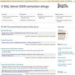 SQL Server 2008 Connection String Samples - ConnectionStrings.com