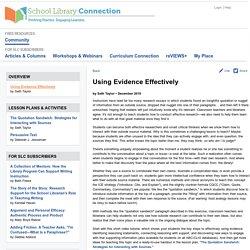 Using Evidence Effectively