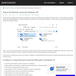 How to fix Ethernet connection Windows 10?