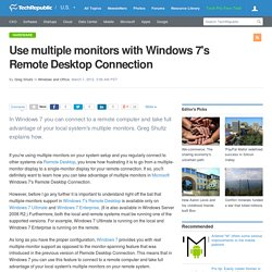 Use multiple monitors with Windows 7's Remote Desktop Connection