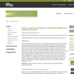 Critical connections: personal learning environments and information literacy