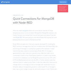 Quick Connections for MongoDB with Node-RED