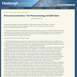 Personal Connections: The Phenomenology of Edith Stein // Hesburgh Libraries // University of Notre Dame