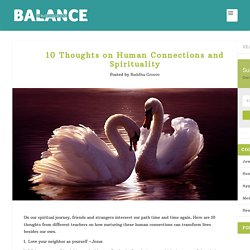 10 Thoughts on Human Connections and Spirituality - Balance