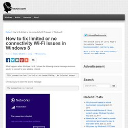 How to fix limited or no connectivity Wi-Fi issues in Windows 8