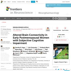 Altered Brain Connectivity in Early Postmenopausal Women with Subjective Cognitive Impairment