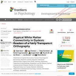 Atypical White Matter Connectivity in Dyslexic Readers of a Fairly Transparent Orthography