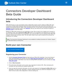Connectors Developer Dashboard Beta Guide - Outlook Dev Center