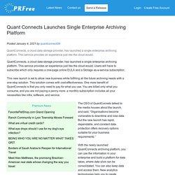 Quant Connects Launches Single Enterprise Archiving Platform