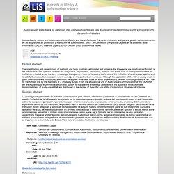 Aplicación web para la gestión del conocimiento en las asignaturas de producción y realización de audiovisuales