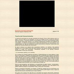 Teoría del Conocimiento en el Diccionario de filosofía contemporánea / 1976