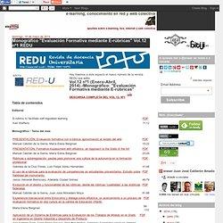 """e-learning, conocimiento en red: Monográfico """"Evaluación Formativa mediante E-rúbricas"""" Vol.12 nº1 REDU"""