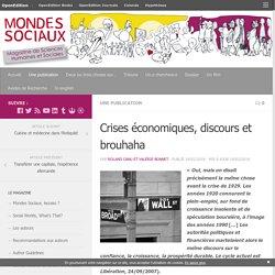 Crises économiques, discours et brouhaha