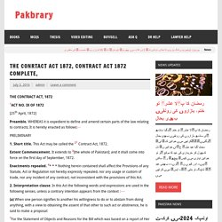 The Conrtact Act 1872, contract act 1872 complete, – Pakbrary