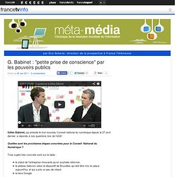 """G. Babinet : """"petite prise de conscience"""" par les pouvoirs publics"""