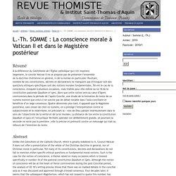 La revue thomiste : L.-Th. SOMME: La conscience morale à Vatican II et dans le Magistère postérieur