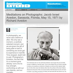 Meditations on Photographs: Jacob Israel Avedon, Sarasota, Florida, May 15, 1971