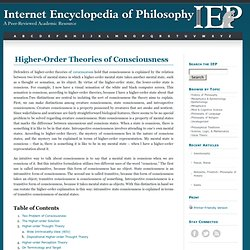 Consciousness, Higher-Order Theories of