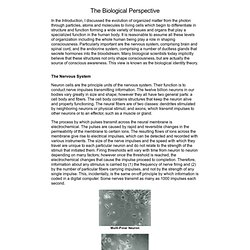 The Roots of Consciousness: Theory, The Biological Perspective