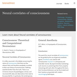 Neural correlates of consciousness - ScienceDirect Topics