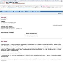 Conseil d'État, Section du Contentieux, 16/07/2014, 361820, Publié au recueil Lebon