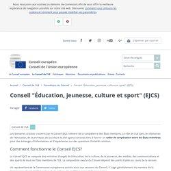 """Conseil """"Éducation, jeunesse, culture et sport"""" (EJCS)"""