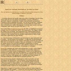 """Note du Conseil Pontifical """"Justice et Paix"""", 24 octobre 2011"""
