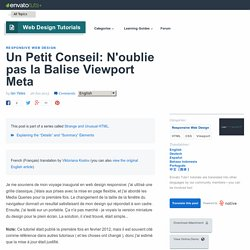 Un Petit Conseil: N'oublie pas la Balise Viewport Meta - Envato Tuts+ Web Design Article
