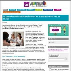 Un rapport conseille de former les profs à «la communication avec les parents»