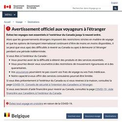 Conseils et avertissements pour Belgique