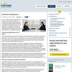 Conseils pour l'entretien d'embauche - Topjobs.ch