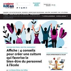 Affiche : 4 conseils pour créer une culture qui favorise le bien-être du personnel à l'école