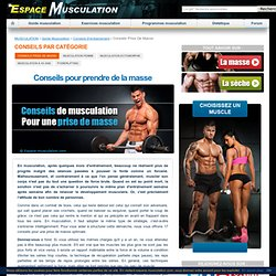 Conseils Musculation Prise de Masse