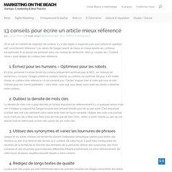 13 conseils pour écrire un article mieux référencé