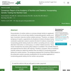 Consensus Report of the Academy of Nutrition and Dietetics: Incorporating Genetic Testing into Nutrition Care - Journal of the Academy of Nutrition and Dietetics