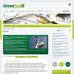GREENFACTS - Consensus Scientifique sur l'Arsenic