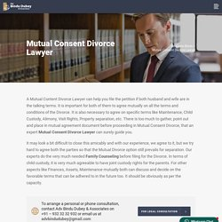 Mutual Consent Divorce Lawyer - Advocate Bindu