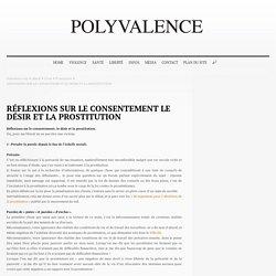 RÉFLEXIONS SUR LE CONSENTEMENT LE DÉSIR ET LA PROSTITUTION
