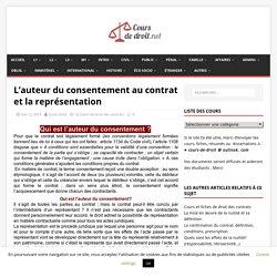L'auteur du consentement au contrat et la représentation