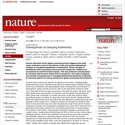 Nature 405, 234-242 (11 May 2000) Consequences of changing biodiversity