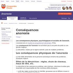 Conséquences de l'anorexie - ComprendreChoisir