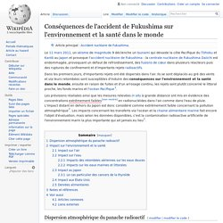 Conséquences de l'accident de Fukushima sur l'environnement et la santé dans le monde