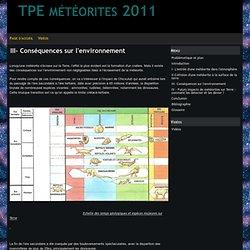 III- Conséquences sur l'environnement - TPE météorites 2011