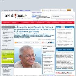 Point de vue - Lettre ouverte aux médecins de France à propos des conséquences de l'interruption d'un traitement par statine
