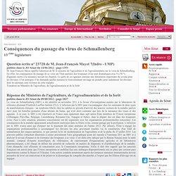 JO SENAT 09/08/12 Réponse à question N°23728 Conséquences du passage du virus de Schmallenberg