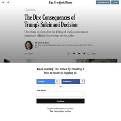 The Dire Consequences of Trump's Suleimani Decision