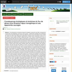 UNIVERSITE DE BOURGOGNE - 2010 - Thèse en ligne : Conséquences écologiques et évolutives du flux de gènes entre Brassica napus transgénique et ses apparentés sauvages