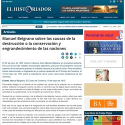 Manuel Belgrano sobre las causas de la destrucción o la conservación y engrandecimiento de las naciones